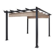 Aleko Products - DIY Frame Aluminum Grape Trellis Pergola Outdoor Canopy Gazebo, Sand, 10'x10' - Pergolas