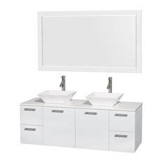 "60"" Double Bathroom Vanity, Stone Countertop, Sinks, and 58"" Mirror"