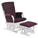 ARTIVA USA - AF20203PURW Deluxe Microfiber Wood Glider and Ottoman Set Artiva USA - This Beautiful Purple Microfiber and white  Home Deluxe Glider , rocker chair and ottoman set is carefully constructed of quality materials and hardwood for a long lasting look. Smooth gliding system and comfortable seating with paded arm-rest. A white finish on solid hardwood and Purple Microfiber cushion completes the look. A perfect gift for yourself or for any occasion