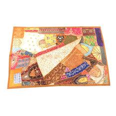 Mogulinterior - Indian Brown Decorative Tapestry Wall Hanging Sari Patchwork Home Decor - Tapestries