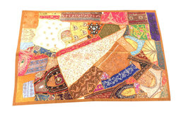 Indian Brown Decorative Tapestry Wall Hanging Sari Patchwork Home Decor