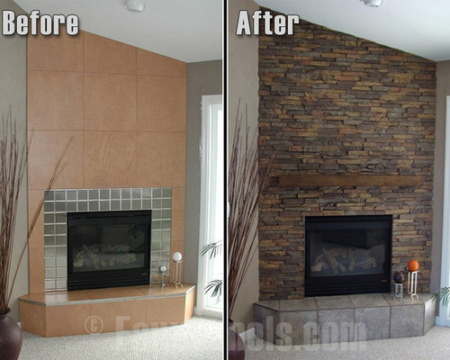 Faux stone fireplace surrounds can give a room a visual focal point and the fireplace an easy facelift at the same time.