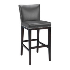 Artefac Pembley Leather Stool With Nailhead Trim Gray Counter Height Bar Stools