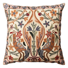 """Floral Vase Tree of Life Two Crane Decorative Pillow Cover Handmade Wool 18x18"""""""