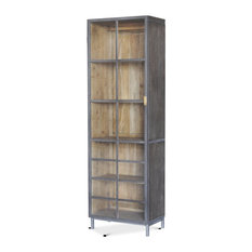 75-inch H Bookcase Solid Acacia Wood Steel Gunmetal & Brass Trim Modern Rustic