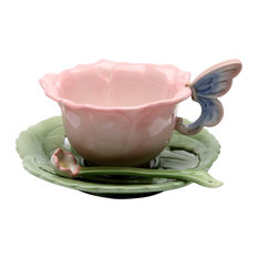 Rose 2-Piece Cup and Saucer Set With Spoon