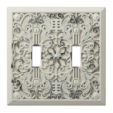 Amerelle Filigree Antique White Cast 2 Toggle Wallplate Switch Plates And Outlet Covers