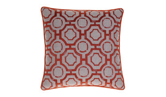 Embroidered Distressed Geometric Pillow, Spice