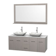"Centra 60"" Gray Oak Double Vanity, White Man-Made Stone Top, Carrera Marble Sink"