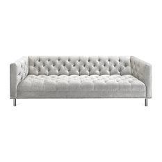 Transitional Tufted Belize Sofa In White Velvet