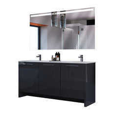 Bathroom Vanity Set 63'' Glossy Gray Double Sink, Benna