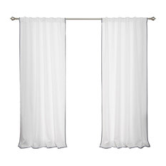 """Oxford Outdoor Small Border Curtains, Dove, 52""""x84"""""""