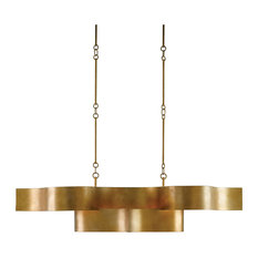 Currey & Co 9000-0046 Grand Lotus Antique Gold Leaf Linear Chandelier