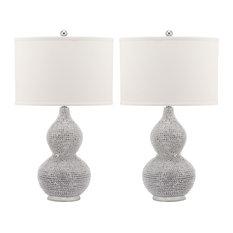 Safavieh Nicole Bead Base Lamps, Set of 2, White Shade