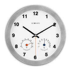 decomates nonticking silent wall clock with thermometer modern multiplex white