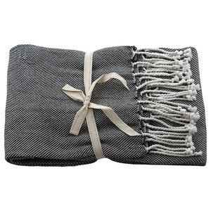 Basket-Weave Throw, Raven Black