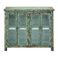 Old World Wooden Cabinet Glass Shelves Green Furniture Accent Home Decor