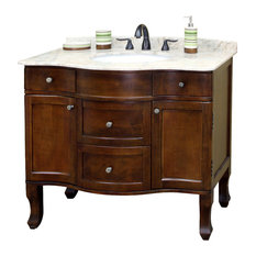 "Bellaterra 38.2"" Single Sink Bathroom Vanity, Wood-Walnut"