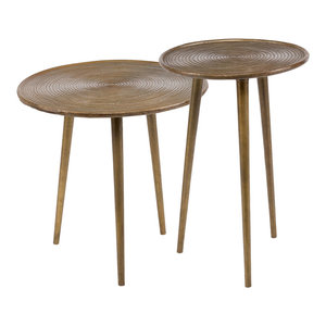 Iron and Brass Round End Tables, Set of 2