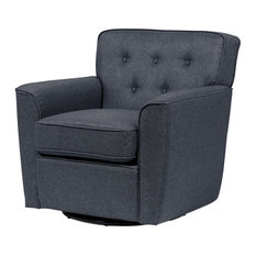 Canberra Fabric Button-Tufted Swivel Lounge Chair With Arms, Gray