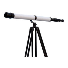 """Floor Standing Oil Rubbed Bronze/White Leather/Black Stand Galileo Telescope 65"""""""