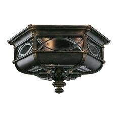3 Light Standard Bulb Outdoor Flush Mount, Wrought Iron Patina