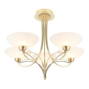 Somerville 5-Light Semi-Flush Ceiling Light, Polished Brass