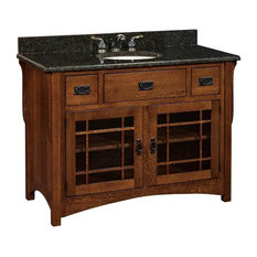 Landmark Bathroom Vanity, Quarter Sawn White Oak, Michaels Cherry, Glass Door
