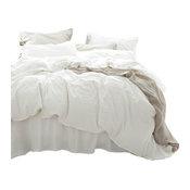 White Linen Duvet Cover, Natural Linen, Full/Queen, 3-Piece Set