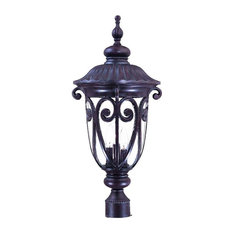 Naples Collection Post-Mount 3-Light Outdoor Light, Marbleized Mahogany