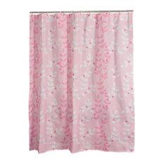 Pink Vine Polyester Waterproof Shower Curtain Bathroom Curtain Bathroom Decor