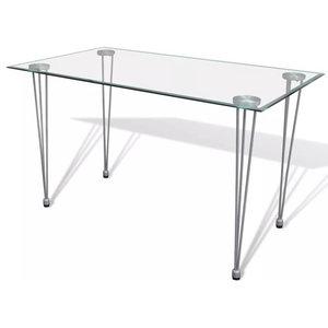VidaXL Transparent Glass Top Dining Table