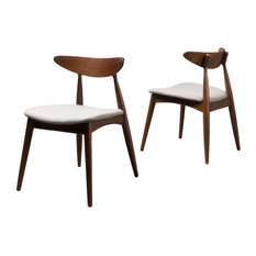 GDF Studio Issaic Design Wood Dining Chairs, Light Gray/Walnut, Set of 2