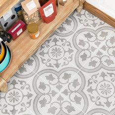TileBar - Sample-Cascais Silver Ornate 9x9 Matte Porcelain Tile - Wall and Floor Tile