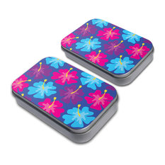 Tropical Flower Hibiscus Pattern Blue Tin Set