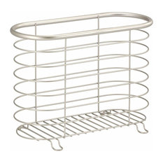 Contemporary Magazine Rack, Silver Finish Stainless Steel, Single Compartment