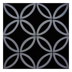 "8""x8"" Amlo Handmade Cement Tile, Black ,Gray , Set of 12"