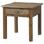 Padma's Plantation - Salvaged Wood End Table - This item is artisan crafted with meticulous care out of reclaimed old pine wood that was salvaged from old houses in rural towns of China. The Reclaimed pine has been bleached to bring out its natural texture and charm. Given its handmade and hand-finished nature, variations in the wood or metal work are to be expected and celebrated. Each item is unique and no two are exactly alike.