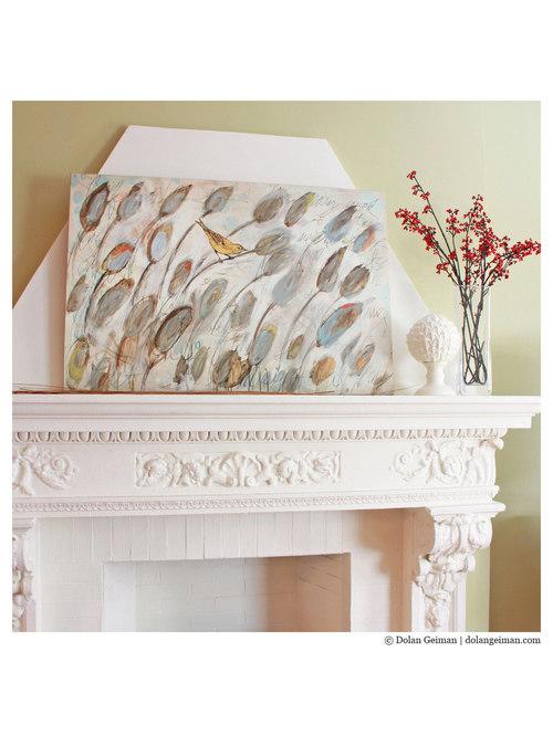 Dolan Geiman - Dolan Geiman Bird in Cattails Wood Print on Fireplace Mantel - Fine Art Prints