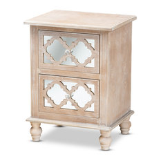 Welch Rustic White-Washed Wood and Mirror 2-Drawer Quatrefoil Nightstand by Baxton Studio