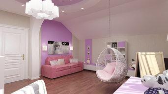 Спальня девочки в мансарде