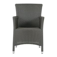 Madeleine Outdoor Wicker Dining Chair, Metallic Grey