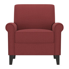 Janet Rolled Arm Chair, Cranberry Red Herringbone