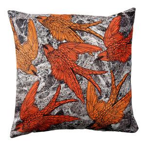 Paradise Velvet Cushion, Orange Birds