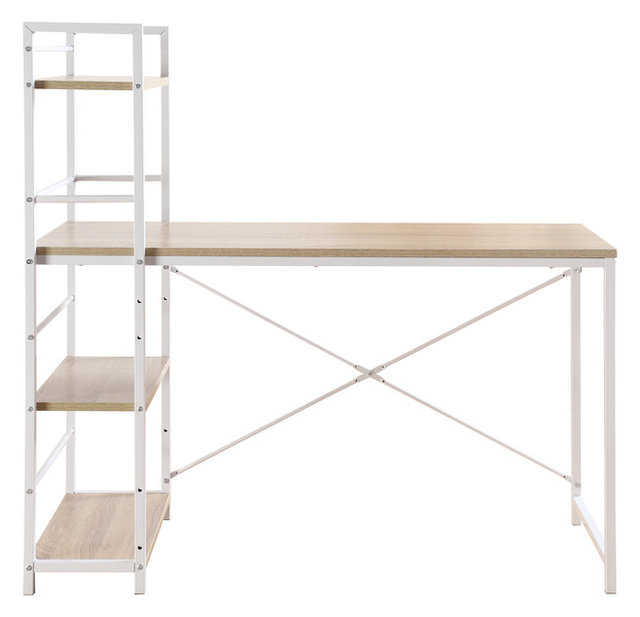 Modern Small Work, Computer Desk With Attached Shelving, Brown U0026 White