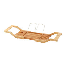 luxe luxe bamboo bathtub caddy tray adjustable width shower caddies