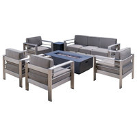 GDF Studio Coral Bay Outdoor Aluminum 7 Seater Chat Set with Fire Pit, Dark Gray