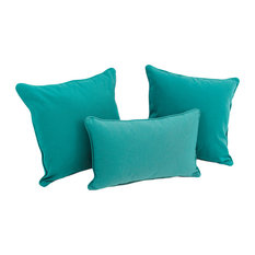 Solid Twill Throw Pillows with Inserts, Set of 3, Aqua Blue