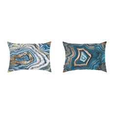 "Oliver Gal 2-Piece ""Blue Geode"" 14""x20"" Pillow Set"