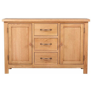 Traditional Sideboard Cabinet, Oak Finished Wood With 3-Drawer and 2 Cupboard
